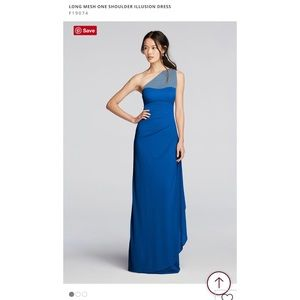 David's Bridal One Shoulder Illusion Mesh Dress